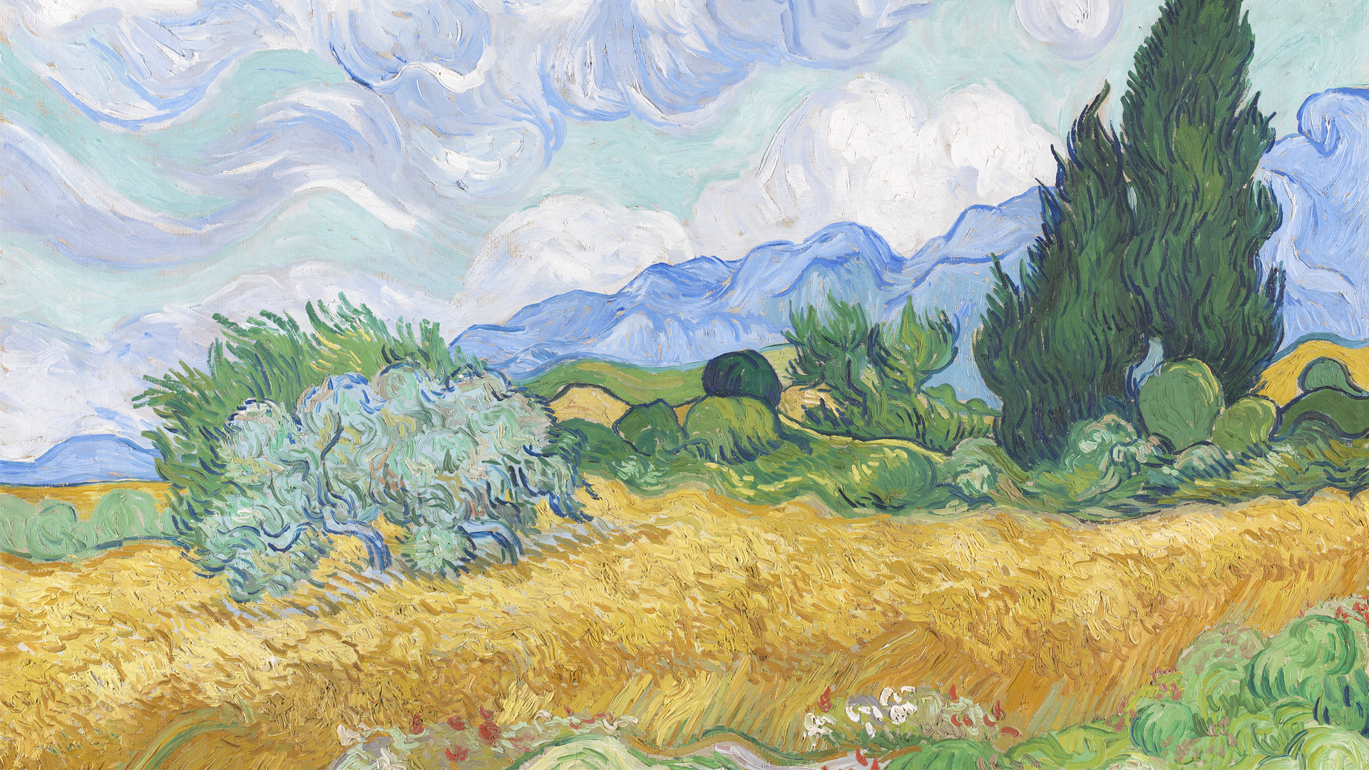 NG3861 - Vincent van Gogh. A Wheatfield, with Cypresses. 1889. © The National Gallery, London